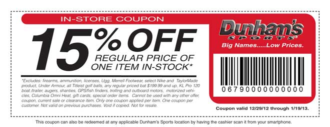 Dunham's Sports 15% Off Coupon