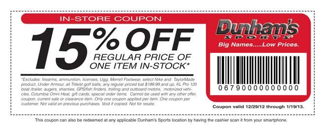 Dunham's Sports 15% Off Coupon
